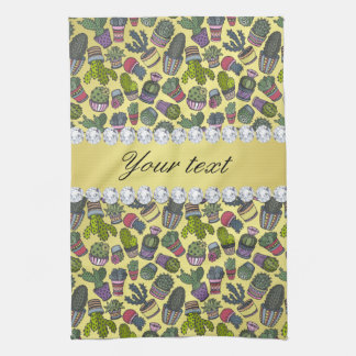Cute Cactus Faux Gold Foil Bling Diamonds Kitchen Towel