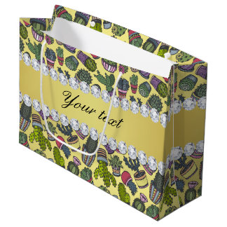 Cute Cactus Faux Gold Foil Bling Diamonds Large Gift Bag