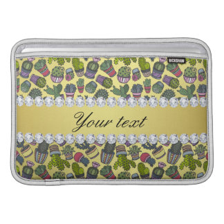 Cute Cactus Faux Gold Foil Bling Diamonds MacBook Sleeve