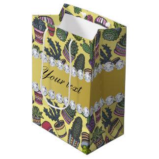 Cute Cactus Faux Gold Foil Bling Diamonds Medium Gift Bag