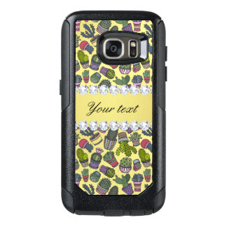 Cute Cactus Faux Gold Foil Bling Diamonds OtterBox Samsung Galaxy S7 Case