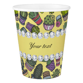 Cute Cactus Faux Gold Foil Bling Diamonds Paper Cup