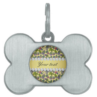 Cute Cactus Faux Gold Foil Bling Diamonds Pet Name Tag