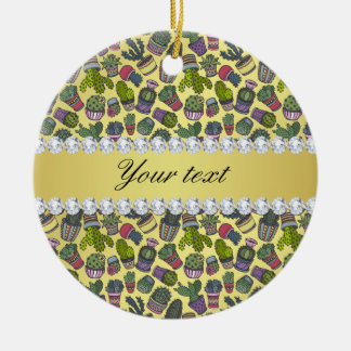 Cute Cactus Faux Gold Foil Bling Diamonds Round Ceramic Ornament