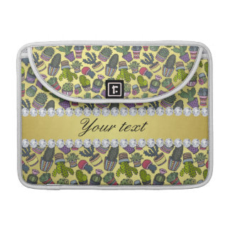Cute Cactus Faux Gold Foil Bling Diamonds Sleeve For MacBooks
