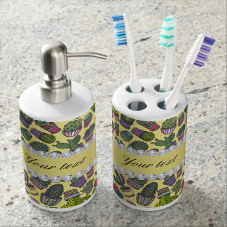 Cute Cactus Faux Gold Foil Bling Diamonds Soap Dispenser And Toothbrush Holder