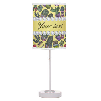 Cute Cactus Faux Gold Foil Bling Diamonds Table Lamp