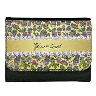 Cute Cactus Faux Gold Foil Bling Diamonds Wallets