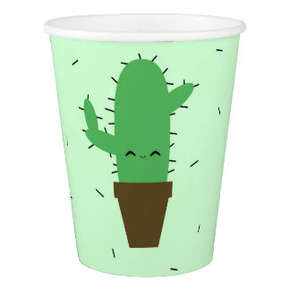 Cute cactus kawaii plant party paper cups