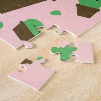 Cute cactus kawaii plant pink jigsaw puzzle