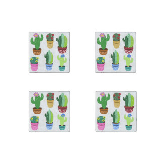 Cute Cactus Pattern Stone Magnets