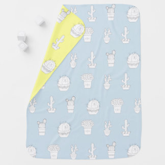 Cute Cactus Pots Pattern on any Color Baby Blanket