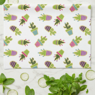 Cute cactus pots with custom background color kitchen towel