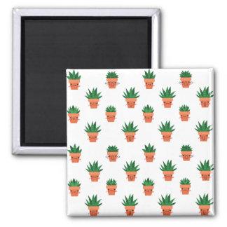 Cute Cactus Square Magnet