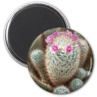Cute Cactus w/ Pink Flower Face and Cacti Friends 2 Inch Round Magnet