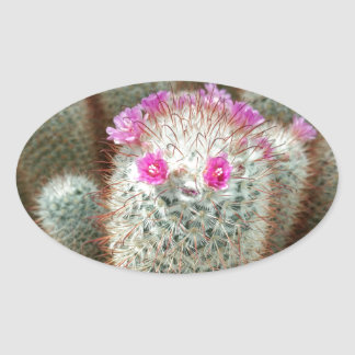 Cute Cactus w/ Pink Flower Face and Cacti Friends Oval Sticker