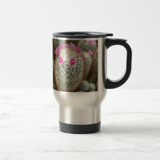 Cute Cactus w/ Pink Flower Face and Cacti Friends Travel Mug