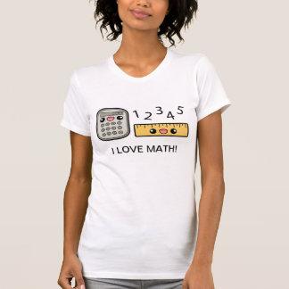 Cute Calculator And Ruler I Love Math T-Shirt