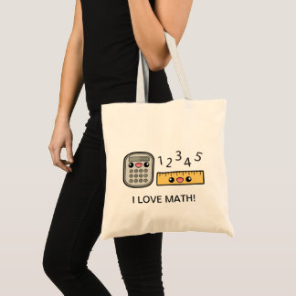 Cute Calculator And Ruler I Love Math Tote Bag