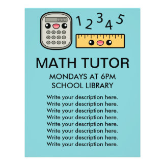 Cute Calculator And Ruler Math Tutor Template Flyer