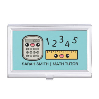Cute Calculator And Ruler With Custom Text Business Card Cases