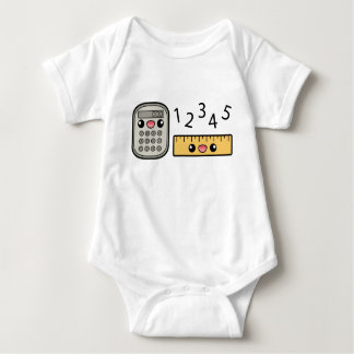 Cute Calculator And Ruler With Numbers Baby Bodysuit