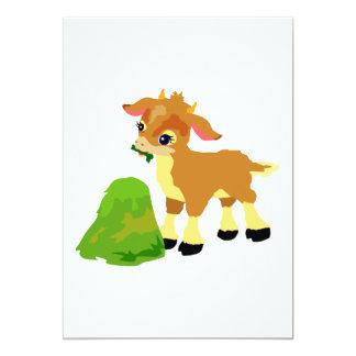 cute calf eating grass custom announcement