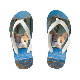 Cute Calico Cat Kitten Funny Curious Eyes Photo ;; Kid's Flip Flops