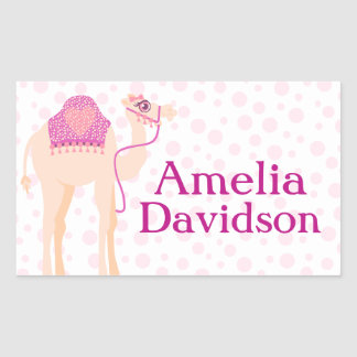 Cute camel book plate name pink id label sticker