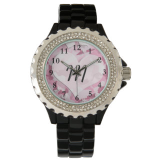 Cute Camo and Hearts Personalized Monogram Wrist Watches