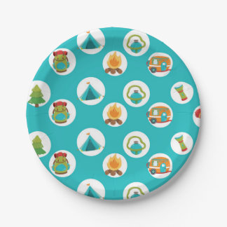 Cute Camping party pattern plate