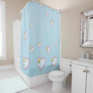 Cute canaries in hearts on sky blue shower curtain