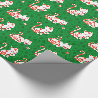 Cute Candy Cane Cat Wrapping Paper