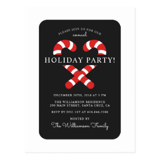 Cute Candy Cane Christmas Holiday Party Postcard