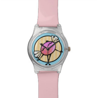 CUTE CANDY GIRL WITH STRIPE BACKGROUND WRIST WATCH