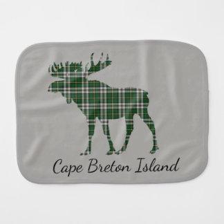 Cute Cape Breton Island moose tartan   burp cloth