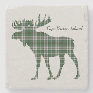 Cute Cape Breton Island moose tartan drink coaster