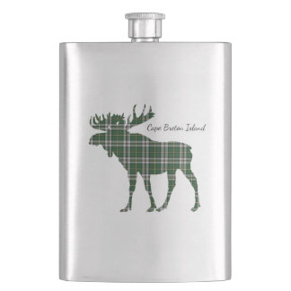 Cute Cape Breton Island moose tartan drink flask