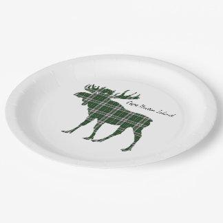 Cute Cape Breton Island moose tartan Paper plate