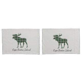 Cute Cape Breton Island moose tartan pillow cases