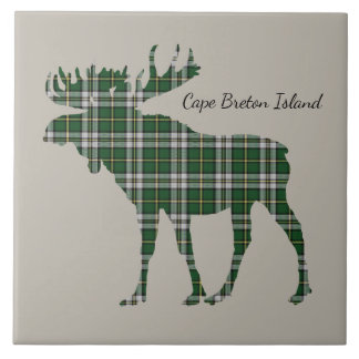 Cute Cape Breton Island moose tartan  tile