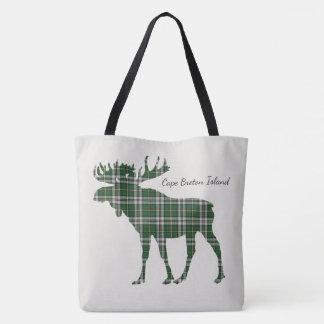 Cute Cape Breton Island moose Tartan tote bag