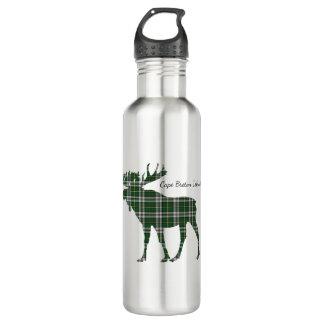 Cute Cape Breton Island moose tartan water bottle