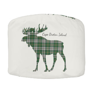 Cute Cape Breton Island Tartan Moose pouf