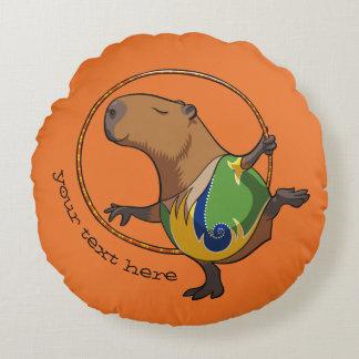 Cute Capybara Gymnast Hoop Cartoon With Caption Round Pillow