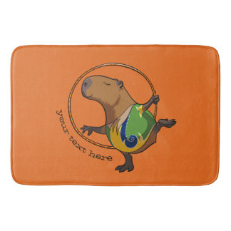Cute Capybara Rhythmic Gymnast Cartoon With Text Bathroom Mat