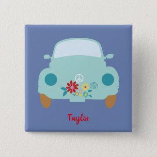 Cute car hippie 2 inch square button