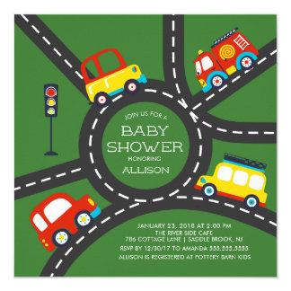 Cute Car Roadway Boys Baby Shower Invitation