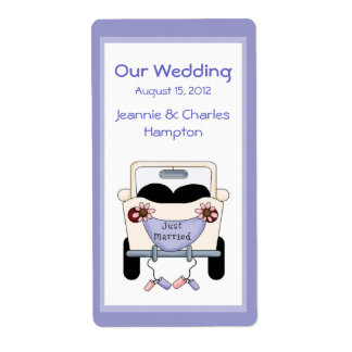 Cute Car Wedding Mini Wine Label