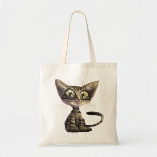 Cute Caricature Cat Budget Tote Bag